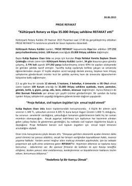 """""""Kültürpark Rotary ve Kipa 35.000 ihtiyaç sahibine REFAKAT etti"""""""