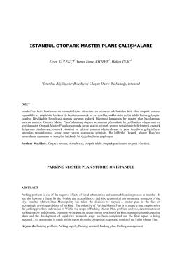 istanbul otopark master planı çalışmaları