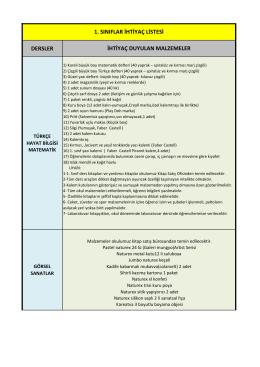 1. sınıflar ihtiyaç listesi