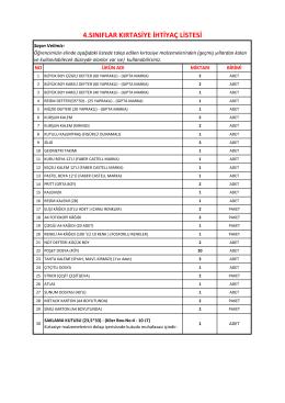 4.sınıflar kırtasiye ihtiyaç listesi