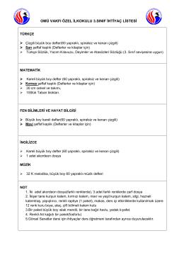 omü vakfı özel ilkokulu 3.sınıf ihtiyaç listesi
