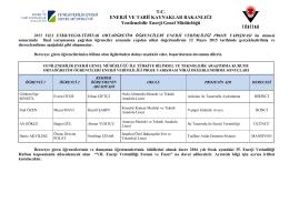 ETKB/YEGM-TÜBİTAK Ortaöğretim Öğrencileri Enerji Verimliliği