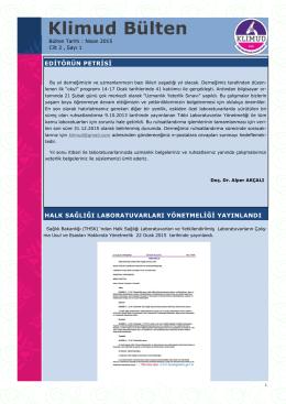 e-Bülten Nisan 2015 - Klinik Mikrobiyoloji Uzmanlık Derneği