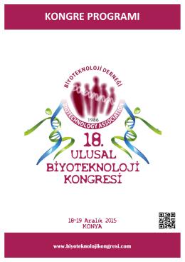 kongre programı - 18. Biyoteknoloji Kongresi
