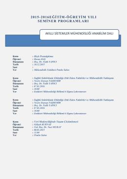 2015-2016 Güz Seminer Programı