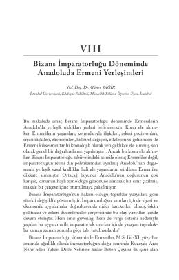 Bizans İmparatorluğu Döneminde Anadoluda Ermeni Yerleşimleri