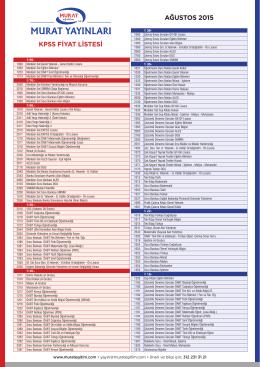 KPSS FİYAT LİSTESİ AĞUSTOS 2015