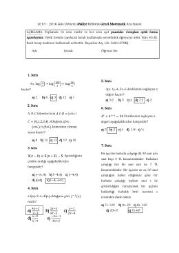 2015 – 2016 Güz Dönemi Maliye Bölümü Genel Matematik Ara