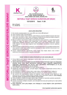 12.aralık.2015 ehliyet sınav soruları