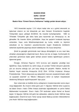 BASKIN ORAN SORU / CEVAP -Ermeni Finali