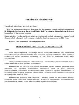 """""""BENİM BİR FİKRİM VAR"""" - Tarım Kredi Kooperatifi Merkez Birliği"""