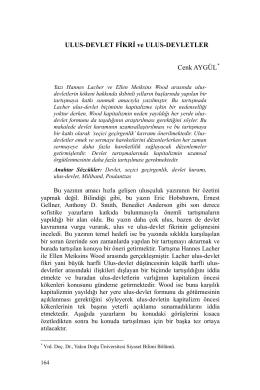 ULUS-DEVLET FİKRİ ve ULUS-DEVLETLER Cenk