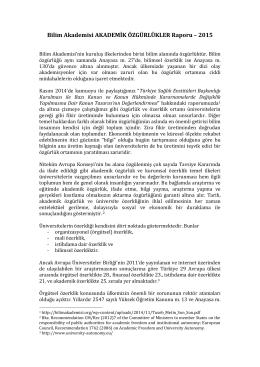 Bilim Akademisi AKADEMİK ÖZGÜRLÜKLER Raporu – 2015