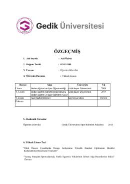 ÖZGEÇMİŞ - Gedik Üniversitesi