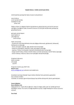 YAŞAM OKULU / HAİKU (18-‐20 Eylül 2015) 18-‐20 Eylül