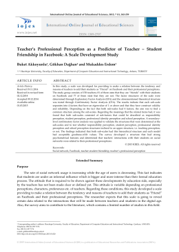 Teacher`s Professional Perception as a Predictor of Teacher