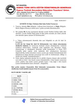 XI. Halı Saha Futbol Turnuvası 2015 Fikstürü BATI GRUBU