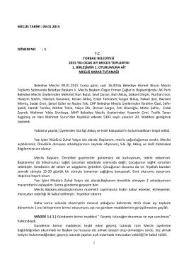 09.01.2015 tarihli meclis kararları
