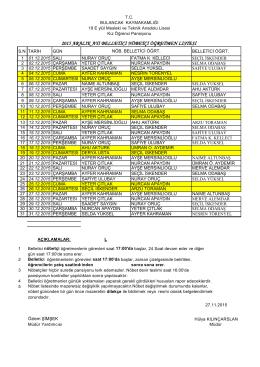Nöbet Listesi - Bulancak 19 Eylül Mesleki ve Teknik Anadolu Lisesi