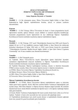 Öğrenci Toplulukları Yönergesi - Düzce Üniversitesi Sağlık Kültür ve