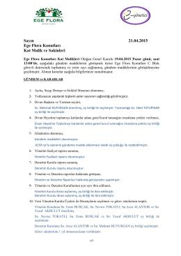 19 Nisan 2015 Tarihli Genel Kurul Kararları