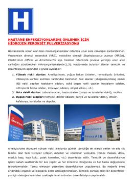 hastane enfeksiyonlarını önlemek için hidrojen peroksit