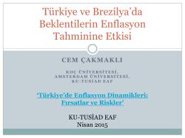 Türkiye ve Brezilya`da Beklentilerin Enflasyon Tahminine Etkisi