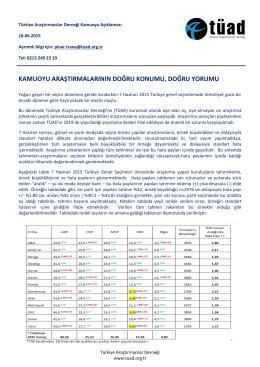 Devamını Oku - Türkiye Araştırmacılar Derneği