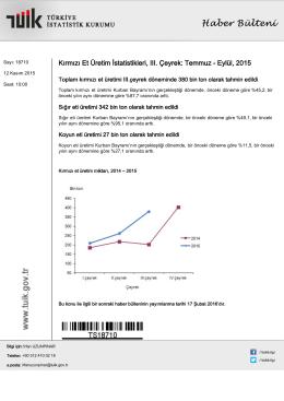 Kırmızı Et Üretim İstatistikleri-(III. Çeyrek: Temmuz