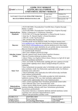 Kaynakçı ve Kaynak Operatörü Program Kuralları