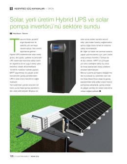 Solar, yerli üretim Hybrid UPS ve solar pompa invertörü`nü