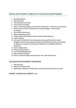 Sıhhi İş Yeri açmak için gerekli belgeler pdf