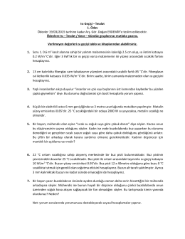 Isı Geçişi – İmalat 1. Ödev Ödevler 19/03/2015 tarihine kadar Arş