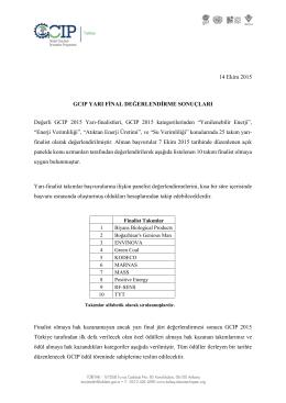 14 Ekim 2015 GCIP YARI FİNAL DEĞERLENDİRME SONUÇLARI