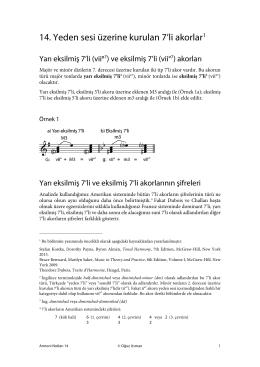 Yeden sesi üzerine kurulan 7`li akorlar