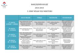 bahçeşehir koleji 2014-2015 3. sınıf nisan veli mektubu
