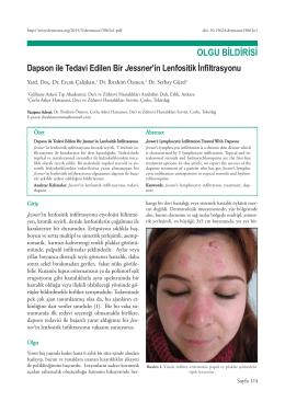 Dapson ile Tedavi Edilen Bir Jessner`in Lenfositik