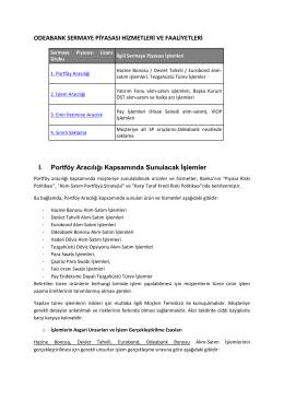 Odeabank sermaye piyasası hizmetleri ve faaliyetleri hakkında