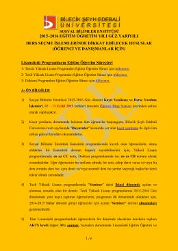 EK - Bilecik Şeyh Edebali Üniversitesi Sosyal Bilimler Enstitüsü