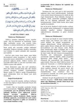 EN BÜYÜK NİMET: AKIL Muhterem Müslümanlar! Allah`ın insanlara
