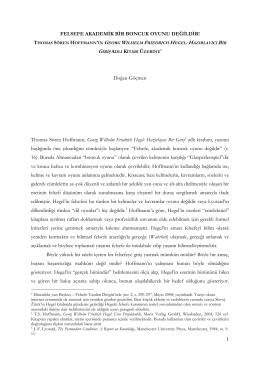 Hoffmann, Hegelci Felsefe Kuramı ve Felsefenin Tarihsel Misyonu