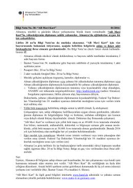 """Bilgi Notu No. 30: """"AB Mavi Kart"""" 05/2015 Almanya, nitelikli iş"""