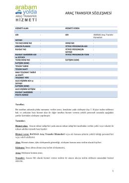 araç transfer sözleşmesi - Bir Araç Transfer Hizmeti | arabamyolda