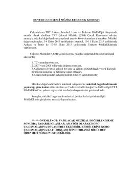 ÇSM Çocuk Korosu - TRT Müzik Dairesi Başkanlığı