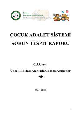 ÇOCUK ADALET SİSTEMİ SORUN TESPİT RAPORU