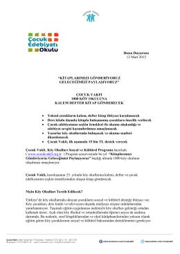 """Basın Duyurusu 12 Mart 2015 """"KİTAPLARIMIZI"""