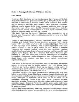 Radyo ve Televizyon Üst Kurulu (RTÜK)`nun Görevleri Fatih Karaca