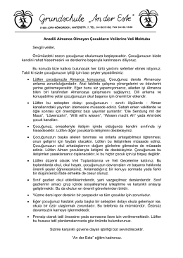 Anadili Almanca Olmayan Çocukların Velilerine Veli Mektubu