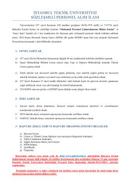 istanbul teknik üniversitesi sözleşmeli personel alım ilanı
