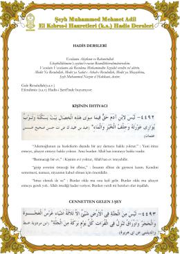 HADİS DERSLERİ Esselamu Aleykum ve Rahmetullah